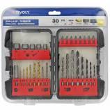 30 pieces -6 drills metal Ø 2 to 6mm + 5 drills wood Ø 3 to 8mm + 5 drills concrete Ø 4 to 8mm + 8 screw bits + 5 sockets Ø 6 to 13mm + 1 bit tip holder