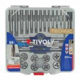 29 pieces -12 taps + 12 dies M3 to M12 + 2 wrenches + 1 die holder 25,4 + Accesory -TECHNIC