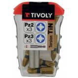 7 pièces -6 embouts torsion revêtus TiN PZ bagués + 1 porte-embout magnétique