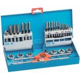 31 pièces - 7 jeux de 3 tarauds HSS DIN352 + 7 filières HSS 25,4 M3 à M12 + 1 tourne à gauche N°1,5 + 1 porte-filière 25,4 + 1 fraise à ébavurer HSS TECHNIC