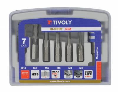 7 pieces -6 taps HSS hexagonal shank M3 to M10 + 1 bit tip holder -TECHNIC