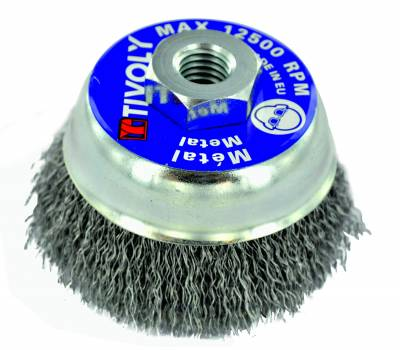 Cepillo copa TECHNIC | Hilo acero ondulado | Decapado de metal TECHNIC (Estuche blíster)