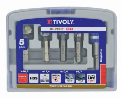 """5 pieces -4 counterbores 90° HSS 1/4""""hexa shank Ø 8,3 to 16,5mm + 1 bit tip hoder -TECHNIC"""