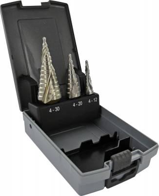3 forets HSS coniques étagés goujures hélicoïdales Ø 4 à 30mm TECHNIC