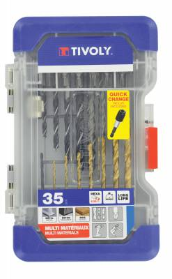 35 pieces -7 drills metal TiN Ø 2 to 8mm + 7 drills wood Ø 3 to 8mm + 5 drills concrete Ø 3 to 8mm + 15 screw bits + 1 magnetic bit tip holder
