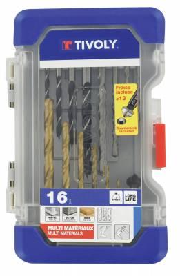 16 pieces -6 metal drills + 5 wood drills + 4 concrete drills