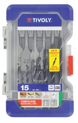 15 pieces -9 brad point drills Ø 2 to 10mm + 6 flat wood drills Ø 12 to 22mm -ESSENTIAL