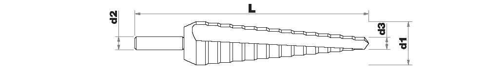 Broca HSS E5 TiAIN cónica escalonada TiALN | Canal helicoidal PREMIUM (Caja colgante)