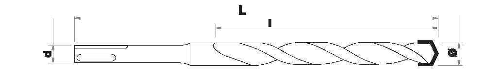 Masonry Hammer bit   L210   SDS+ shank ESSENTIAL (Hanging SDS clip)